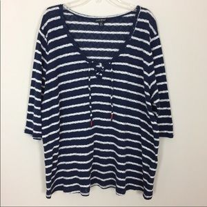 Lucky Brand • Navy & White Striped Sweater